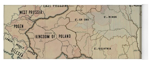The Political Subdivision Of The Polish Territory Before The War And Its Linguistic Areas, 1918 Yoga Mat