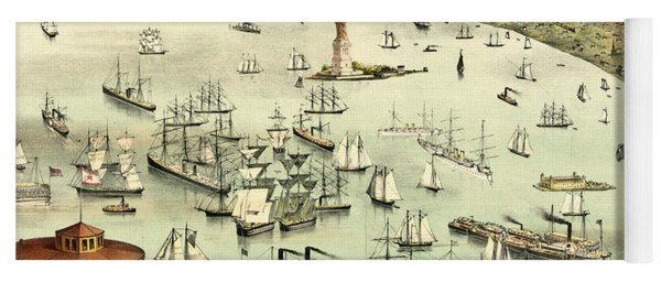 The Port Of New York, Birds Eye View From The Battery, Looking South, Circa 1892 Yoga Mat