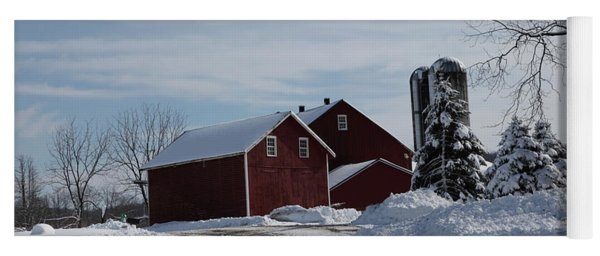 The Red Barn In The Snow Yoga Mat