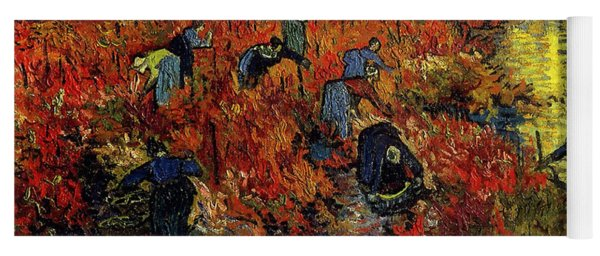 Yoga Mat featuring the painting The Red Vineyard At Arles by Van Gogh