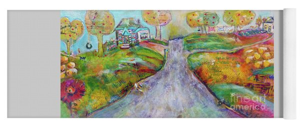Yoga Mat featuring the painting The Road Home by Claire Bull
