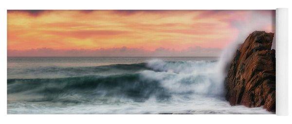 The Sea Against The Rock Yoga Mat