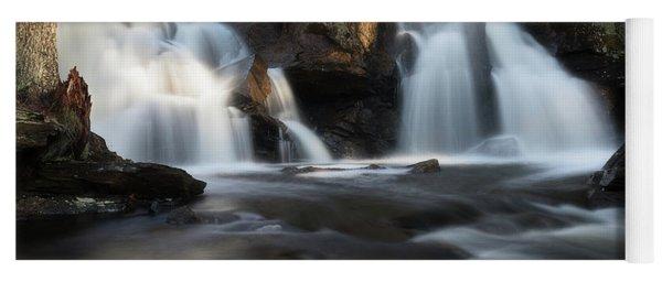 The Secret Waterfall In Golden Light Yoga Mat