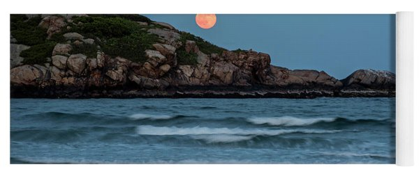 The Strawberry Moon Rising Over Good Harbor Beach Gloucester Ma Island Yoga Mat