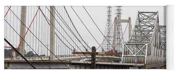The Two Carquinez Bridges At Crockett And Vallejo California . Aka Alfred Zampa Memorial Bridge . 7d8919 Yoga Mat