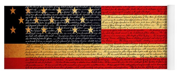 The United States Declaration Of Independence - American Flag - Square Yoga Mat
