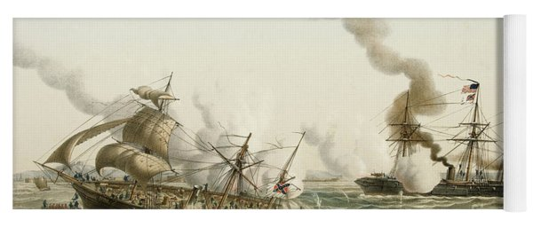 The Uss Kearsage Of The Union Navy Sinks The Confederate Raider Css Alabama Yoga Mat