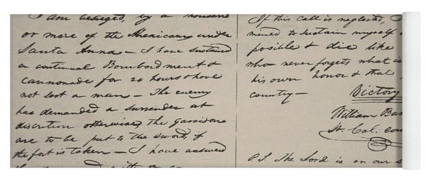The Victory Of Death Letter Written By The Alamo Commander William Barret Travis, 1836  Yoga Mat