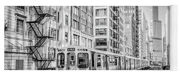 The Wabash L Train In Black And White Yoga Mat