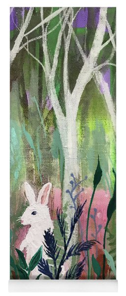 Yoga Mat featuring the painting The White Rabbit by Robin Maria Pedrero