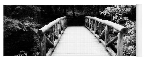 The Wooden Bridge In Black And White Yoga Mat