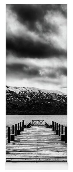 Landscape With Lake And Snowy Mountains In The Argentine Patagonia - Black And White Yoga Mat