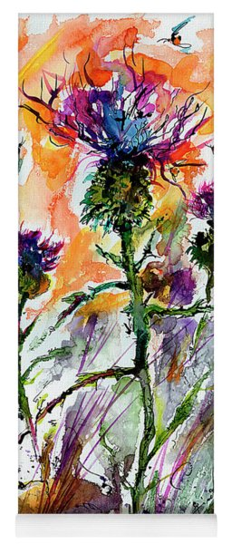Thistles And Bees Watercolor And Ink Yoga Mat