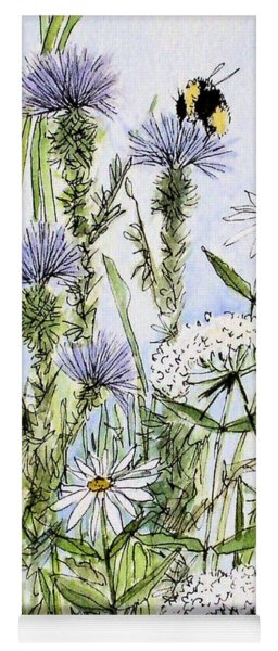 Thistles Daisies And Wildflowers Yoga Mat