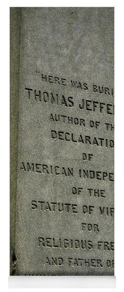 Thomas Jefferson Tombstone Close Up Yoga Mat