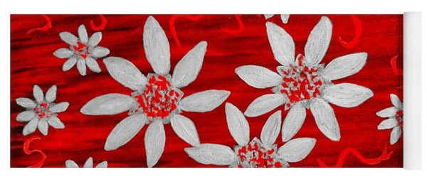 Three And Twenty Flowers On Red Yoga Mat