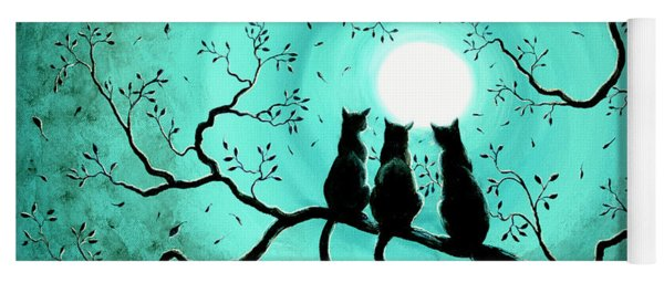 Three Black Cats Under A Full Moon Yoga Mat
