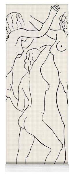 Three Female Nudes Yoga Mat
