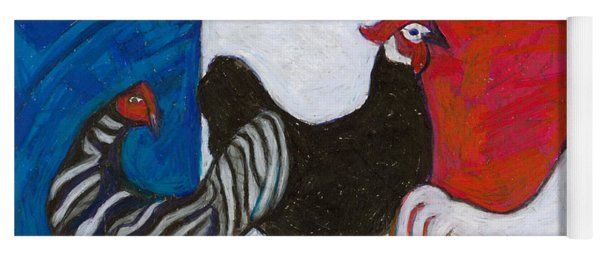 Yoga Mat featuring the painting Three French Hens by Denise Weaver Ross
