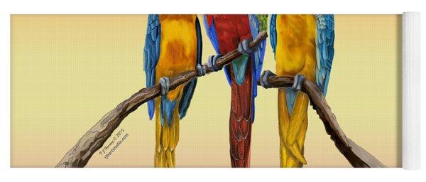 Three Macaws Hanging Out Yoga Mat
