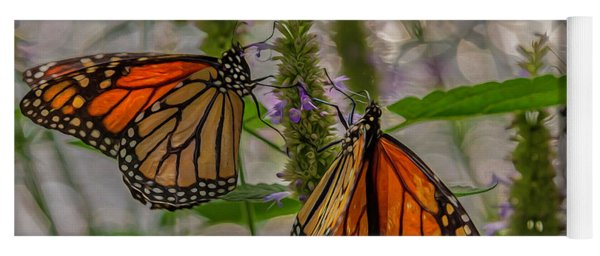 Three Monarch Butterfly Yoga Mat