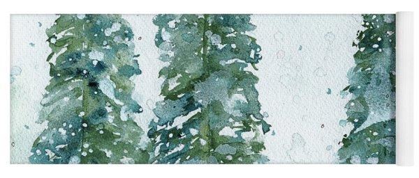 Three Snowy Spruce Trees Yoga Mat