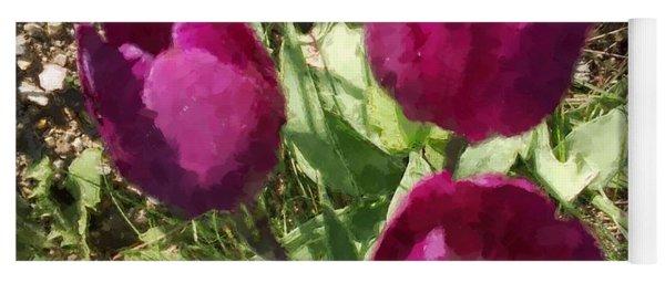 Three Tulips Painted Yoga Mat