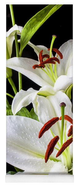 Three White Lilies Yoga Mat