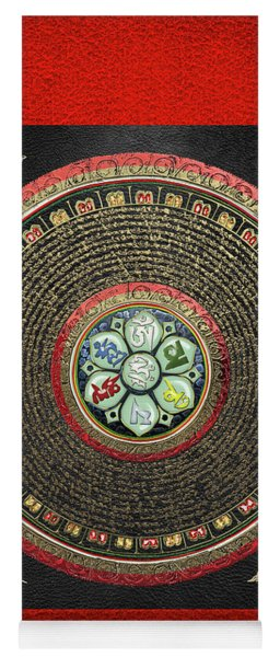 Tibetan Om Mantra Mandala In Gold On Black And Red Yoga Mat