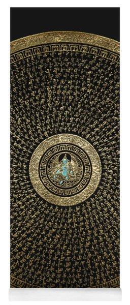 Tibetan Thangka - Green Tara Goddess Mandala With Mantra In Gold On Black Yoga Mat