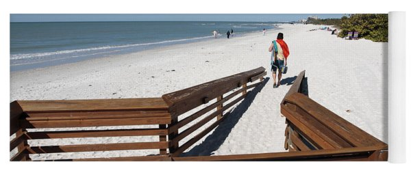 Tide Of Sand Over A Ramp On The Beach In Naples Florida Yoga Mat