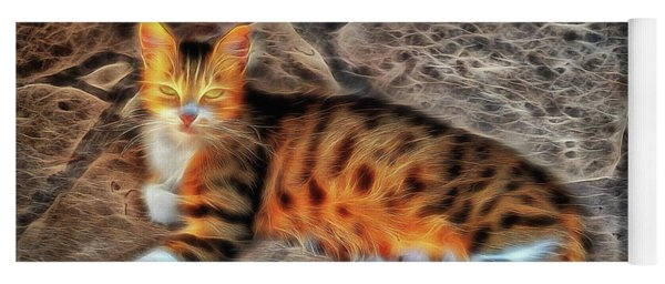 Yoga Mat featuring the photograph Tiger Tiger Burning Bright by Leigh Kemp