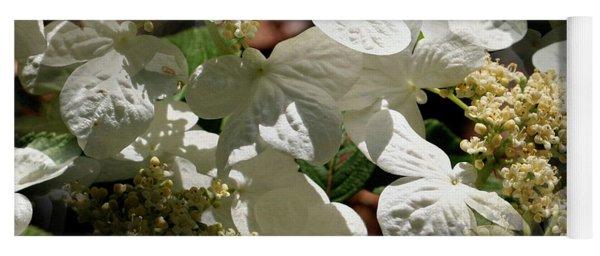 Tiled White Lace Cap Hydrangeas Yoga Mat