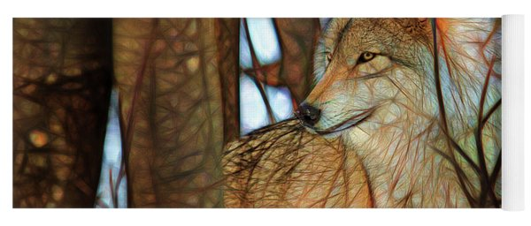 Timber Wolf Colorful Art Yoga Mat