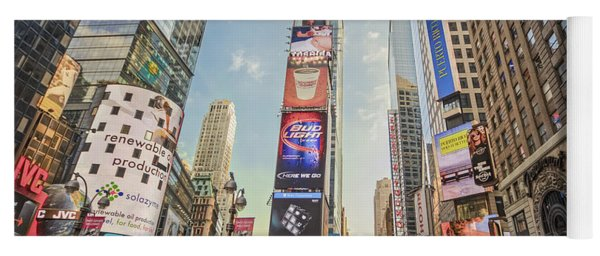 Yoga Mat featuring the photograph Times Square Hustle by Ray Warren