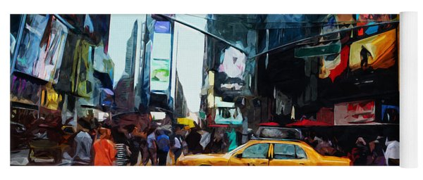 Times Square Taxi- Art By Linda Woods Yoga Mat