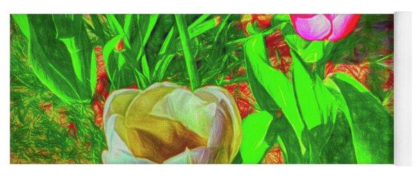 Tinted White Tulipans Yoga Mat
