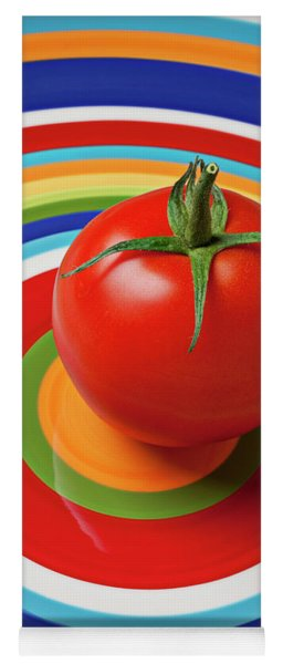 Tomato On Plate With Circles Yoga Mat