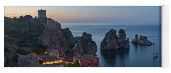Tonnara And Faraglioni Rocks In Scopello At Dusk Yoga Mat