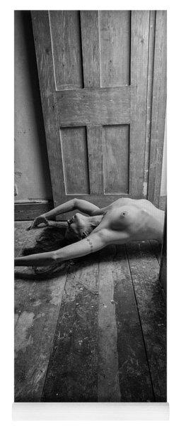 Topless Woman In Doorway Yoga Mat