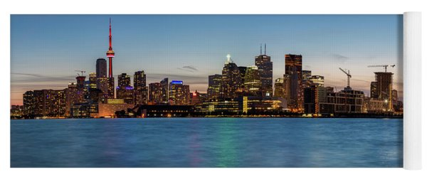 Yoga Mat featuring the photograph Toronto Skyline At Dusk Panoramic by Adam Romanowicz