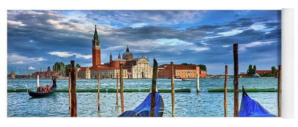 Gondolas And San Giorgio Di Maggiore In Venice, Italy Yoga Mat