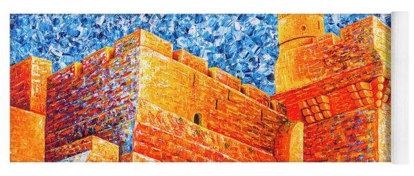 Yoga Mat featuring the painting Tower Of David At Night Jerusalem Original Palette Knife Painting by Georgeta Blanaru