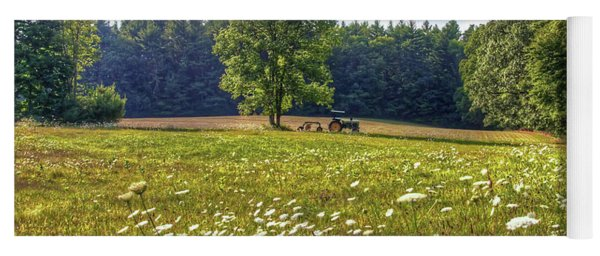 Tractor In Field With Flowers Yoga Mat