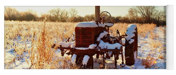 Tractor In Frosted Field  Yoga Mat