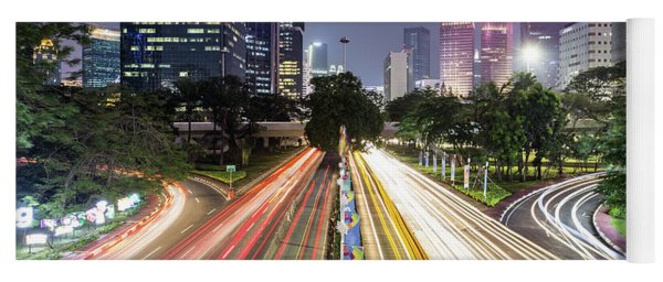 Traffic Night Rush In Jakarta, Indonesia Capital City.  Yoga Mat