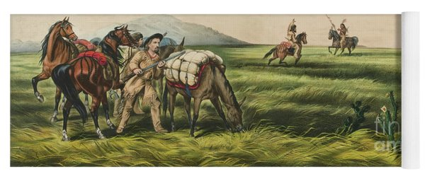 Trappers On The Prairie  Peace Or War Yoga Mat