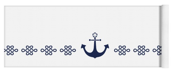 Treasure Knot And Anchor In Blue Yoga Mat