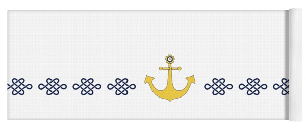 Yoga Mat featuring the digital art Treasure Knot With Yellow Anchor  by Helga Novelli