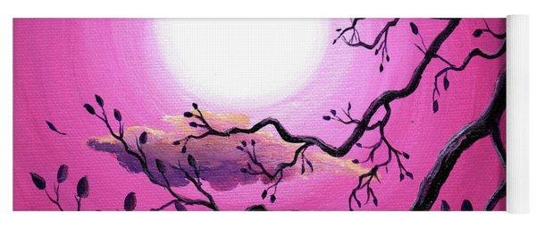 Tree Branch In Pink Moonlight Yoga Mat